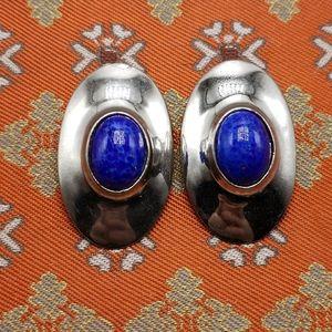 🌈 Vintage HUGE RUNWAY statement silver oval gem